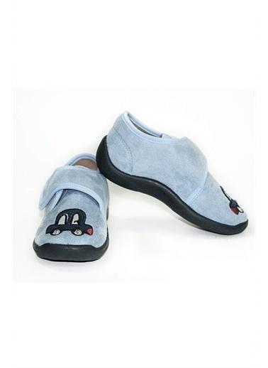 First Step Robot Nakışlı Gri Panduf Çocuk Ayakkabısı-F--458 Mavi